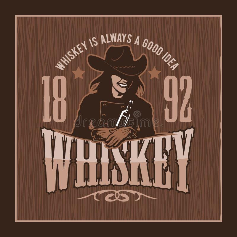 Rocznika whisky etykietka z dziewczyną - koszulki grafika ilustracja wektor
