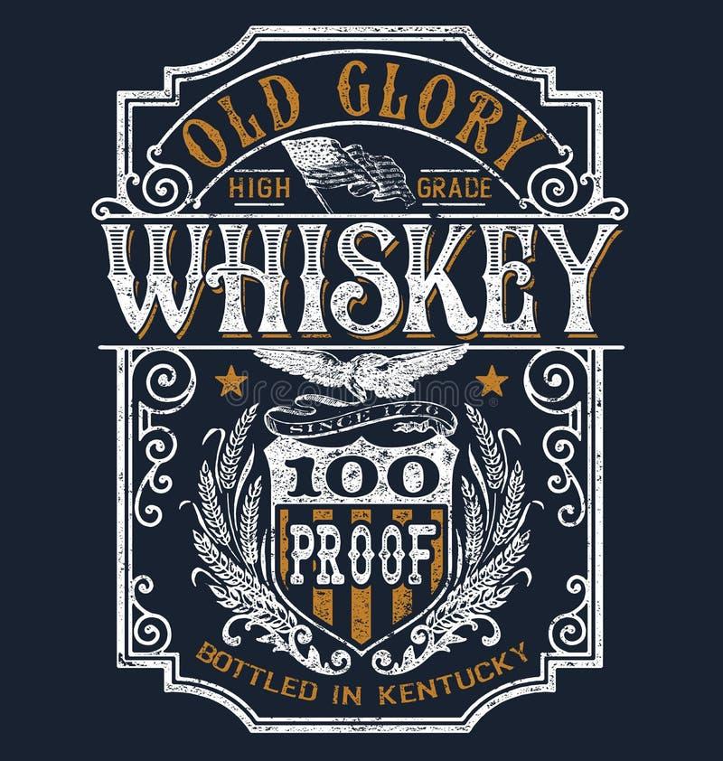 Rocznika whisky etykietki koszulki Americana grafika royalty ilustracja