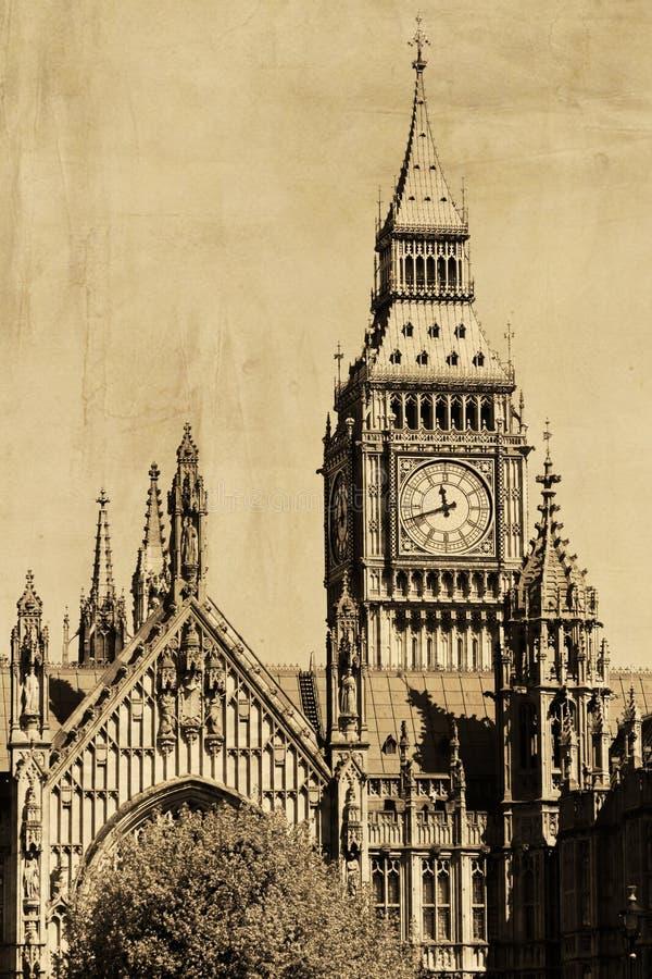 Rocznika widok Londyn, Big Ben zdjęcia royalty free