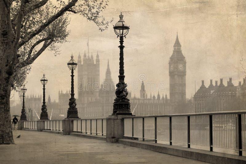 Rocznika widok Londyn, Big Ben & Parlament zdjęcie stock