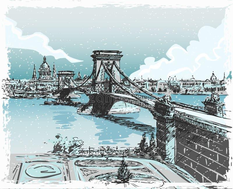 Rocznika widok lwa most w Budapest royalty ilustracja