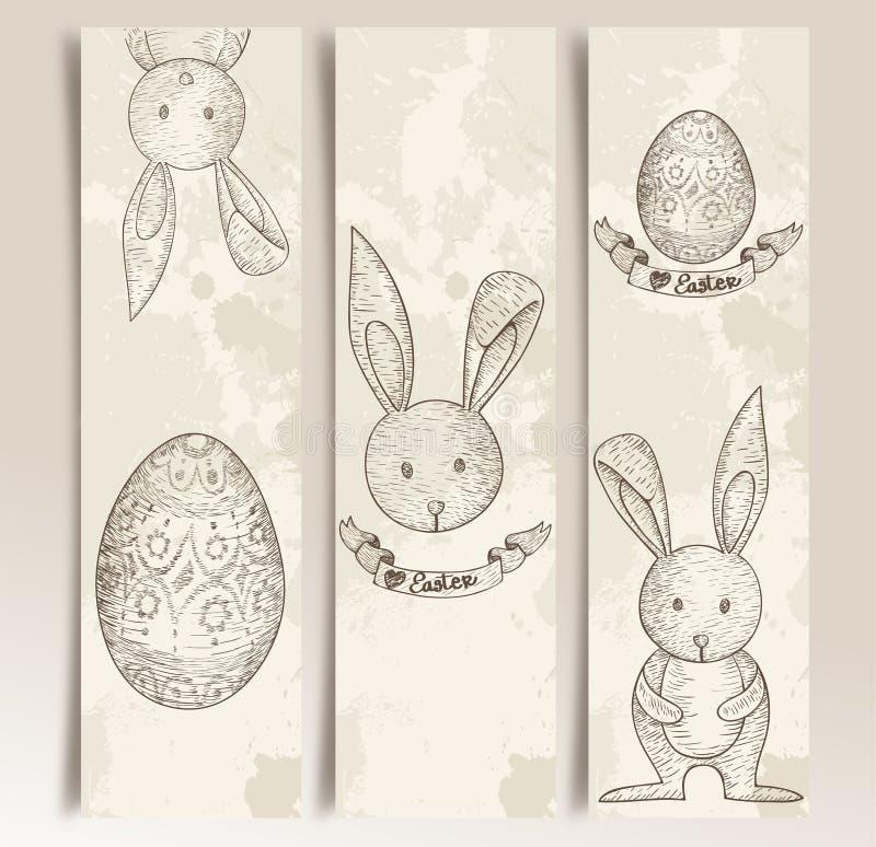 Rocznika Wielkanocnego królika sztandaru set ilustracji