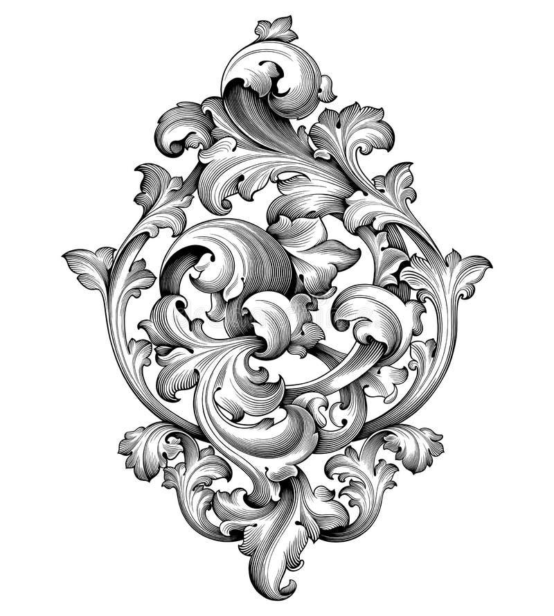 Rocznika wiktoriański ramy granicy kąta monograma kwiecistego ornamentu deseniowego tatuażu Barokowa ślimacznica grawerujący kali