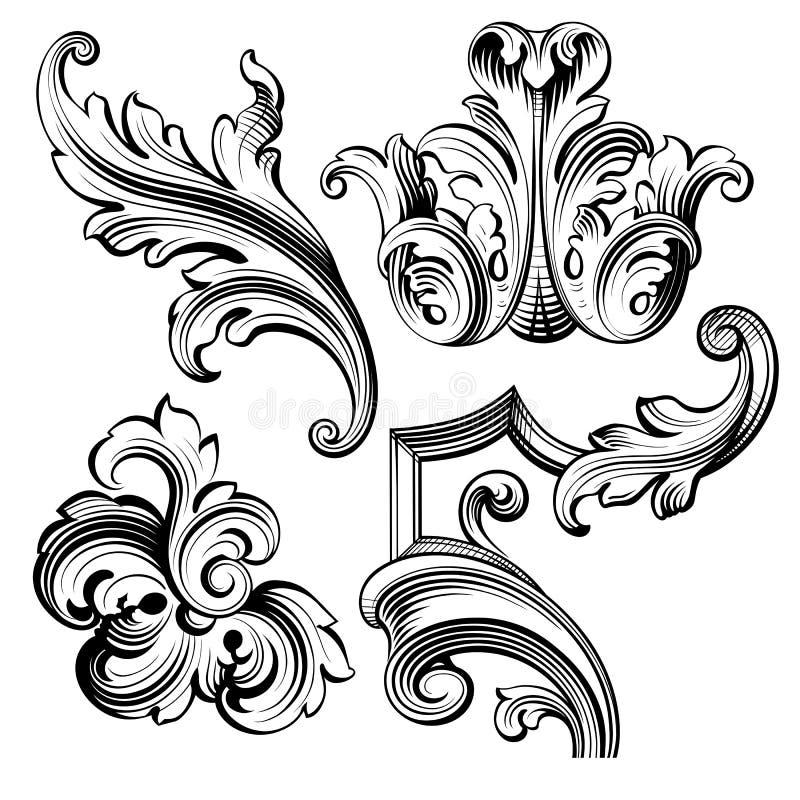 Rocznika wiktoriański ramy granicy monograma kwiecistego ornamentu Barokowa ślimacznica grawerujący retro deseniowy tatuaż kaligr ilustracja wektor