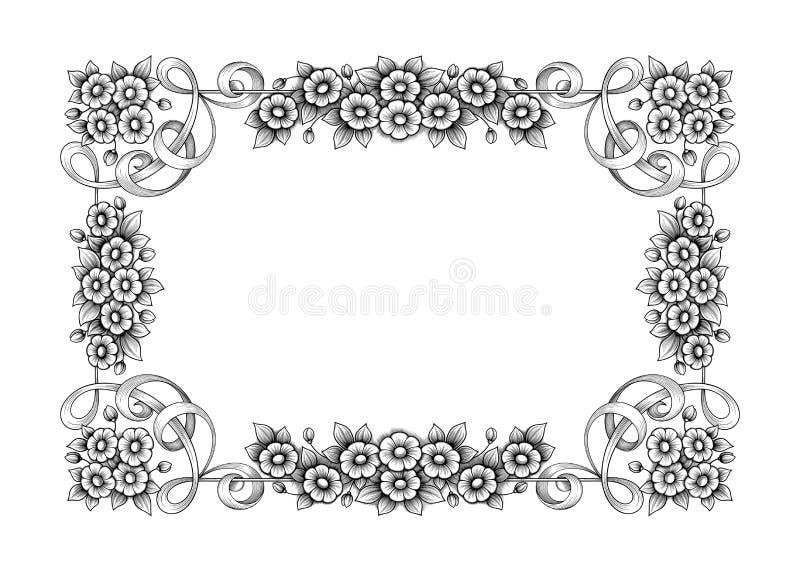 Rocznika wiktoriański ramy granicy monograma kwiecistego ornamentu retro deseniowego tatuażu Barokowa ślimacznica grawerujący kal ilustracji