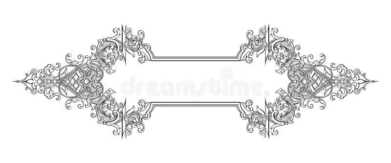 Rocznika wiktoriański ramy granicy monograma kwiecistego ornamentu retro deseniowego tatuażu Barokowa ślimacznica grawerujący kal