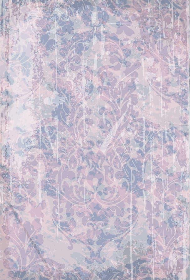 Rocznika wiktoriański wzoru Barokowy wektor Kwiecistego ornamentu dekoracja Liścia grunge tekstury ślimacznica grawerujący retro  royalty ilustracja