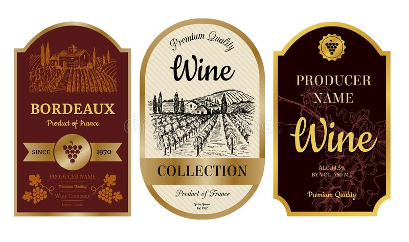 Rocznika wina etykietki Alkohol odznaki z obrazkami winnica górskiej chaty wioski bordowie przylepiają etykietkę wektorową kolekc royalty ilustracja