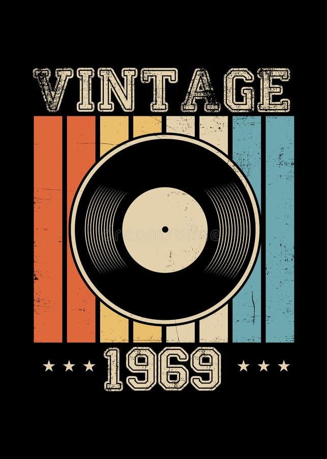 Rocznika 1969 winylowa retro plakatowa odzież martwiąca ilustracja wektor