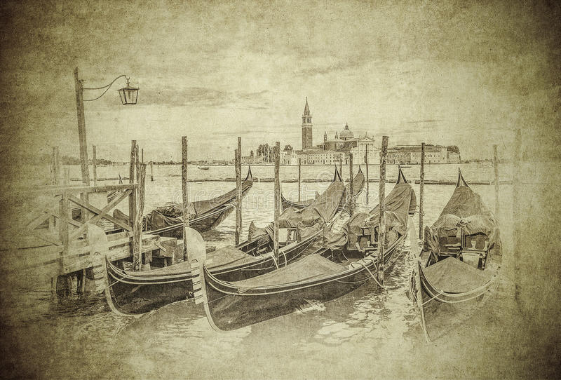 Rocznika wizerunek gondole przy kanał grande, Wenecja ilustracja wektor