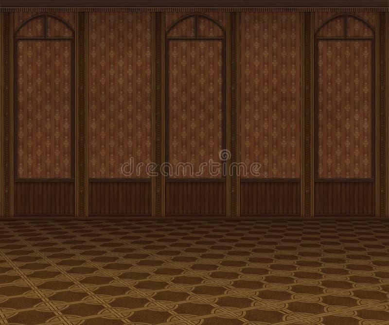 Rocznika wnętrze. Pusty pokój z retro tapetą i drewnem ilustracja wektor