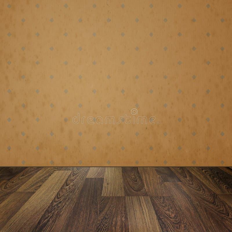 Rocznika wnętrze. Pusty pokój z retro tapetą i drewnianym flo ilustracja wektor