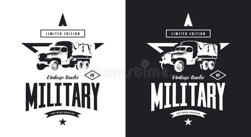 Rocznika wojskowego ciężarówki czarny i biały odosobniony wektorowy logo ilustracja wektor