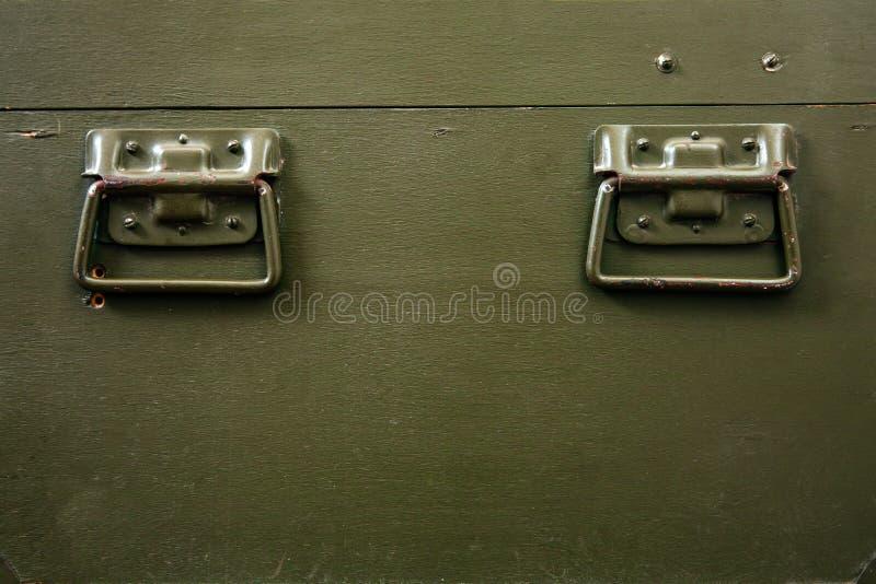 Rocznika wojskowego pudełka zieleni amunicj kędziorka narysów starej składowej sukiennej wojny konfliktu ojczyzny broni brudni ła zdjęcia royalty free