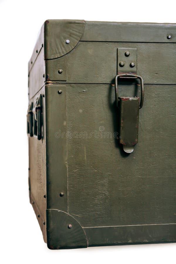 Rocznika wojskowego pudełka zieleni amunicj kędziorka narysów starej składowej sukiennej wojny konfliktu ojczyzny broni brudni ła obraz royalty free