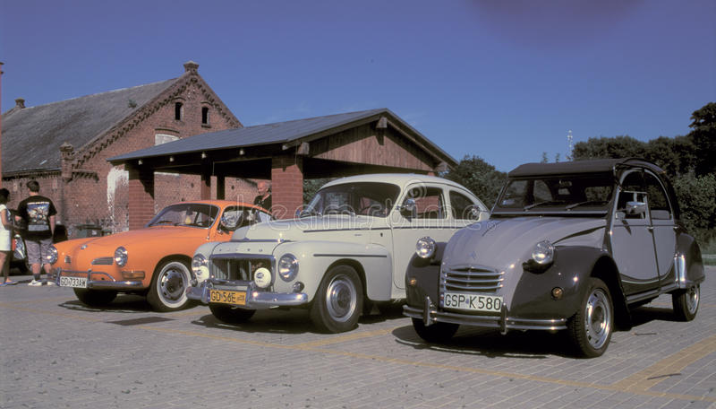 Rocznika wolkswagen Volvo i Citroen obrazy stock