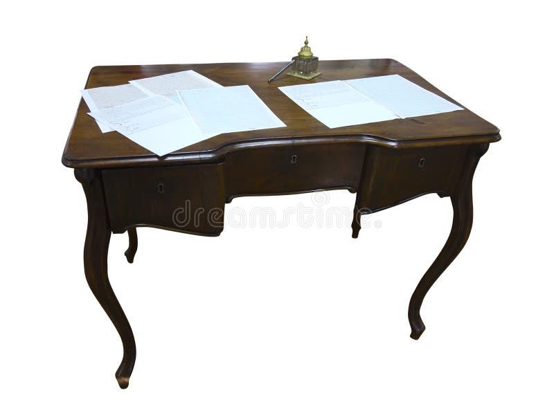 Rocznika writind biurko z papierem i inkwell odizolowywającymi na bielu fotografia royalty free