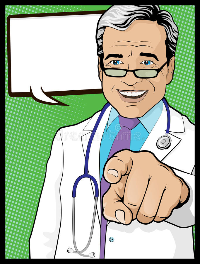 Rocznika wystrzału sztuki lekarka z Wskazywać rękę ilustracja wektor