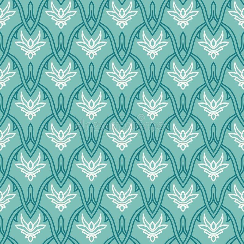 Rocznika wzór z adamaszkowym ornamentem, bezszwowym royalty ilustracja