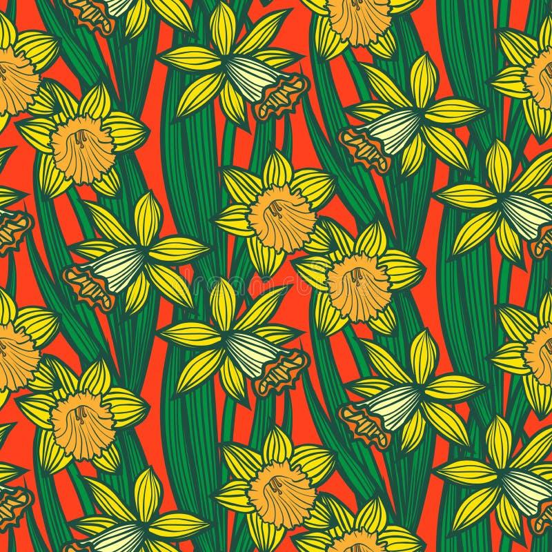 Rocznika wzór z daffodils lub narcyzem. royalty ilustracja
