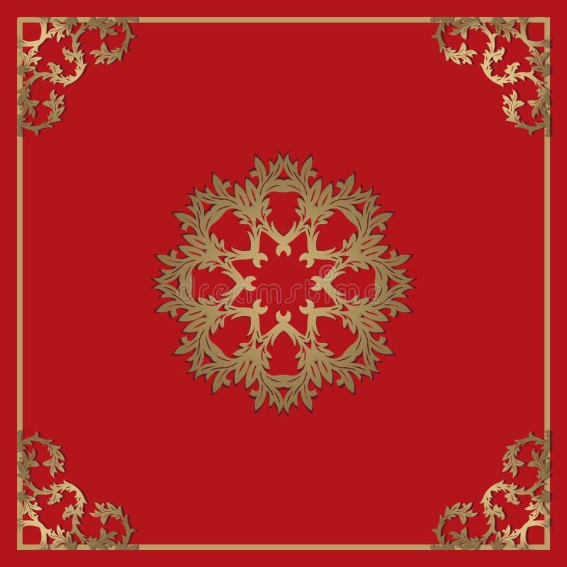 Rocznika złocisty tło, wektor kwadratowa ornamentacyjna rama z śliwkami ilustracji