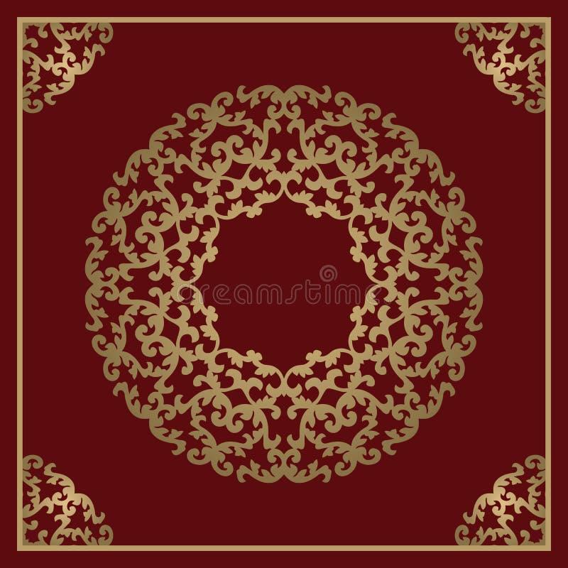 Rocznika złocisty tło, wektor kwadratowa ornamentacyjna rama z śliwkami royalty ilustracja