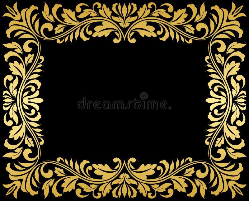 Rocznika złota rama z kwiecistym ilustracji