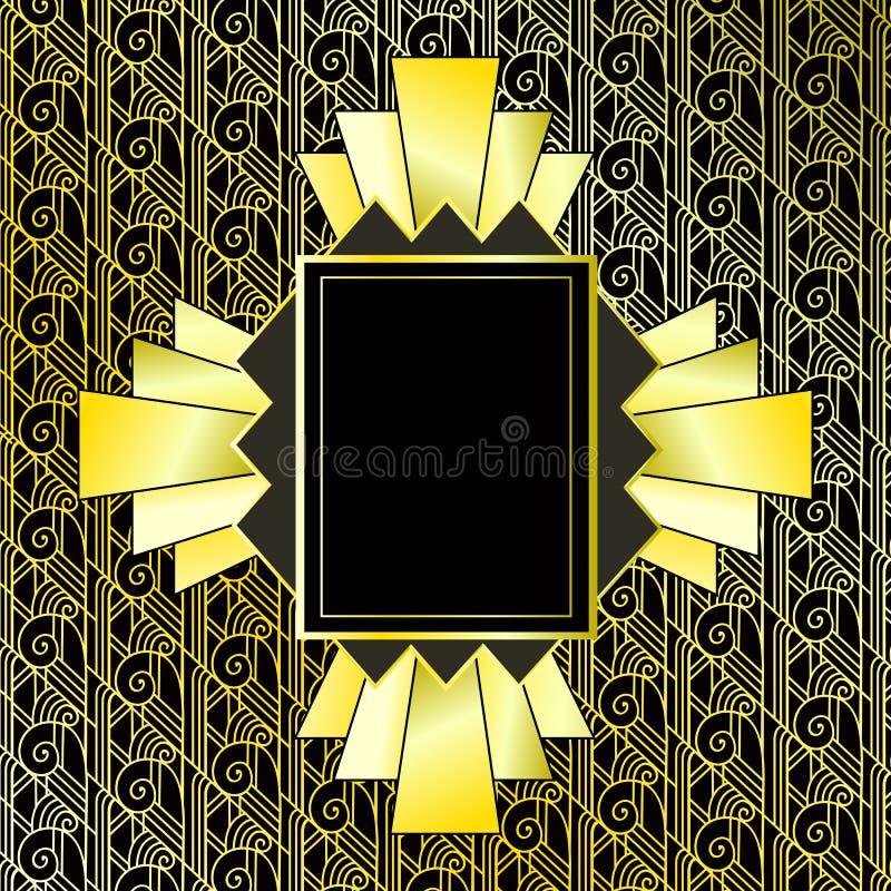 Rocznika złota tło Retro styl rama 1920s również zwrócić corel ilustracji wektora ilustracji