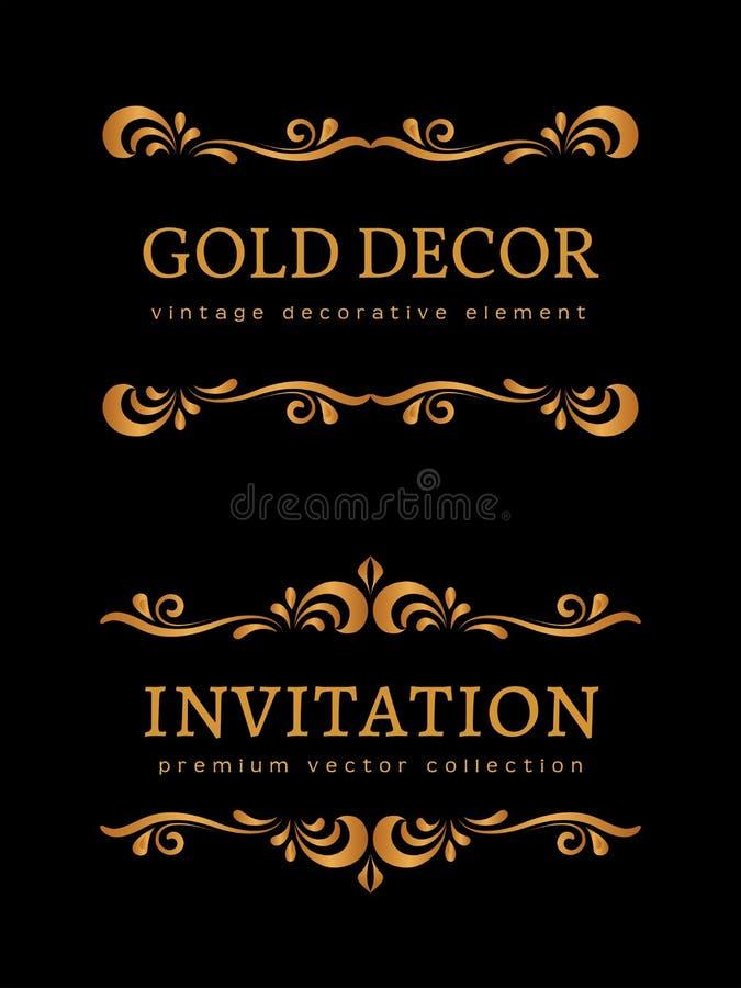 Rocznika złota winiety royalty ilustracja