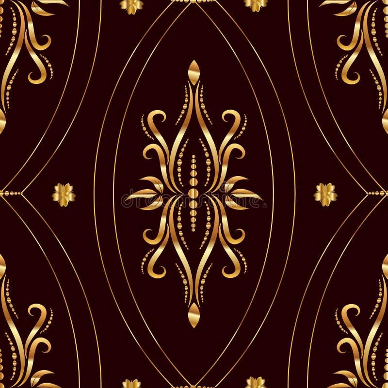 Rocznika złoty bezszwowy wzór zdjęcia stock