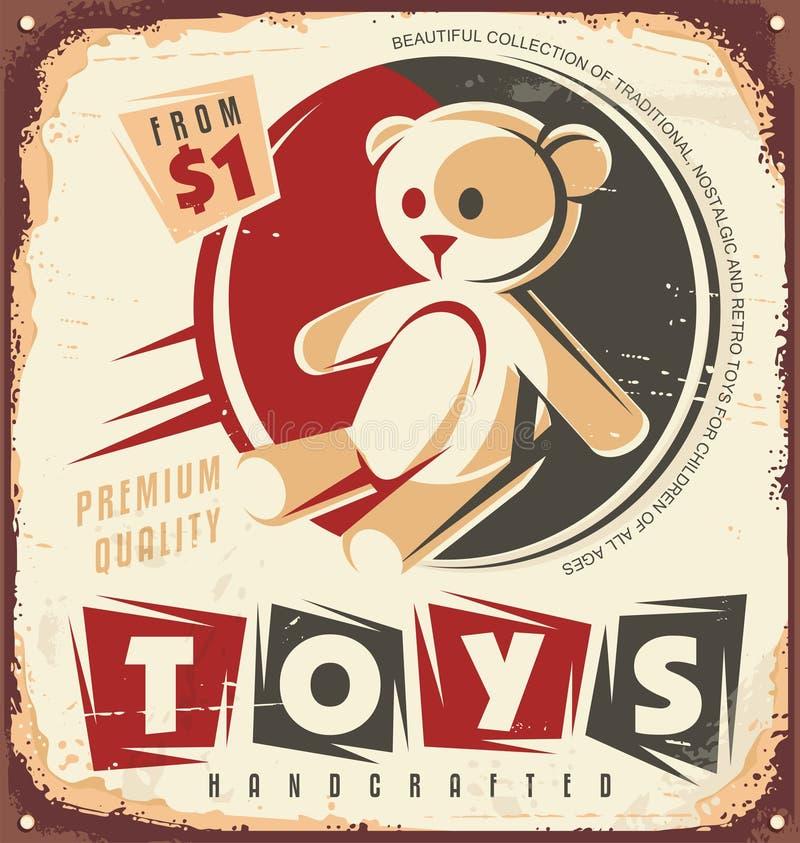 Rocznika zabawkarskiego sklepu metalu znak royalty ilustracja