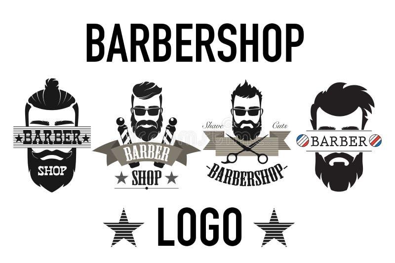 Rocznika zakładu fryzjerskiego retro logo, etykietka, emblemat i badgesisolated na białej wektorowej ilustracji ilustracja wektor