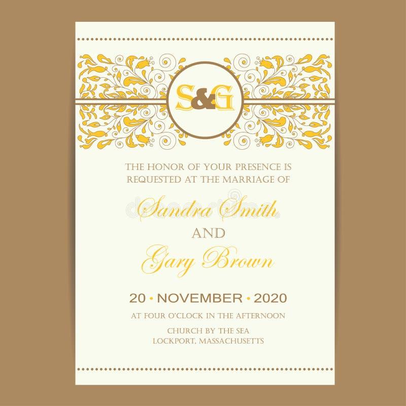 Rocznika zaproszenia ślubna karta royalty ilustracja