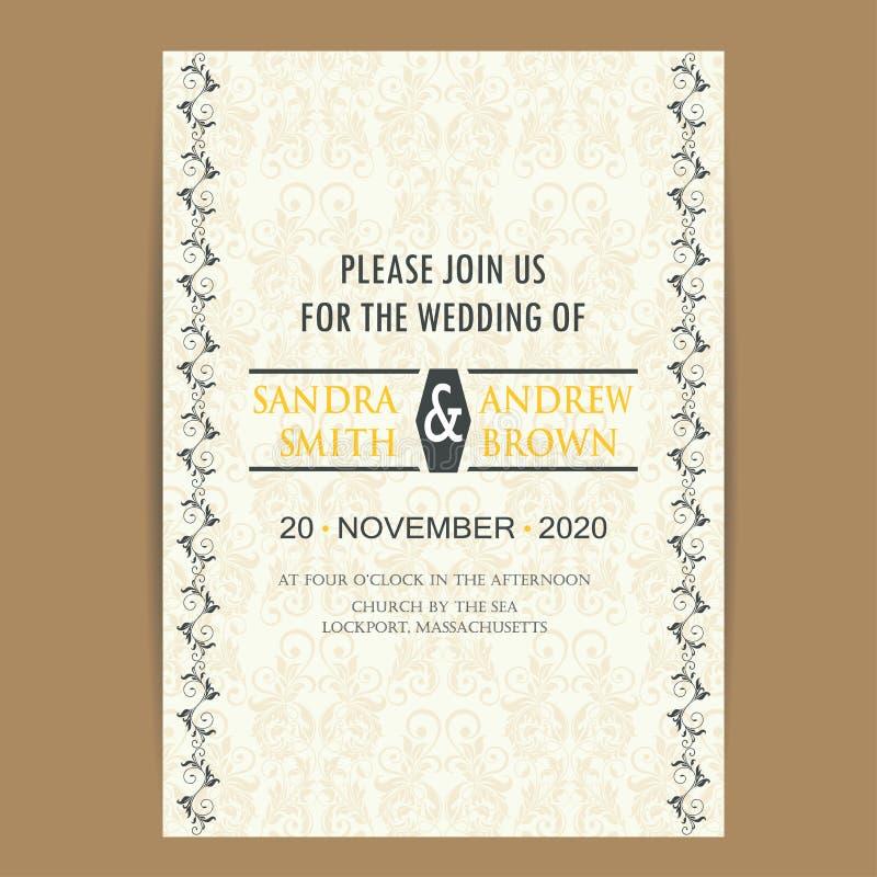 Rocznika zaproszenia ślubna karta ilustracja wektor