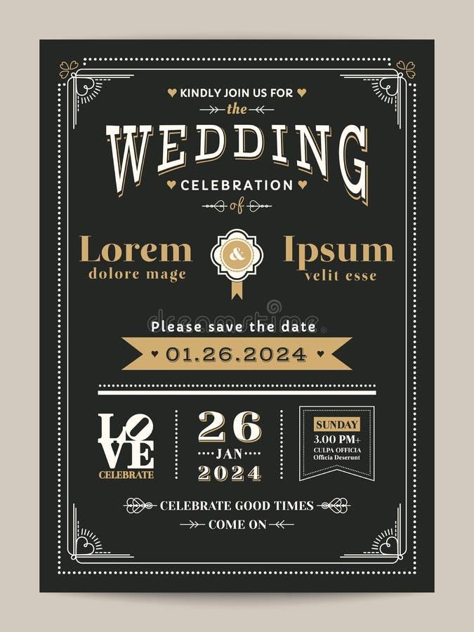 Rocznika zaproszenia ślubna karta z czernią i złocistym kolorem ilustracja wektor