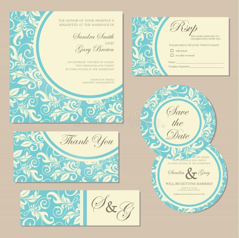 Rocznika zaproszenia ślubne karty royalty ilustracja