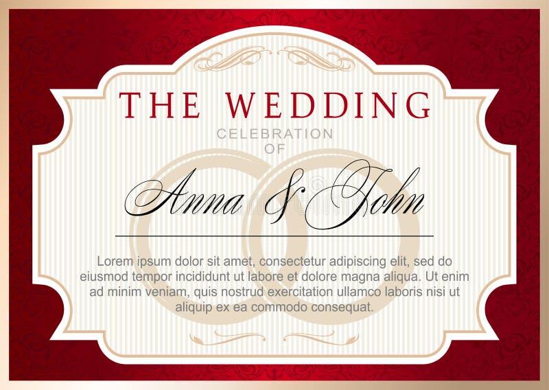 Rocznika zaproszenia ślubny szablon, rubinowa czerwień z złotem ilustracja wektor