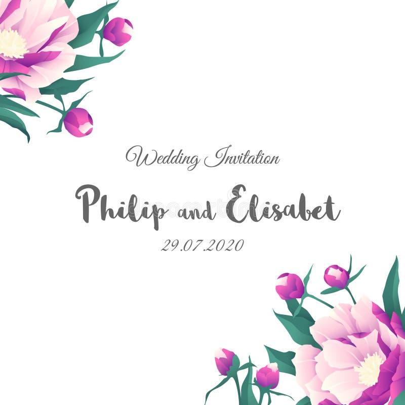 Rocznika zaproszenia Ślubny szablon z peoniami ilustracji