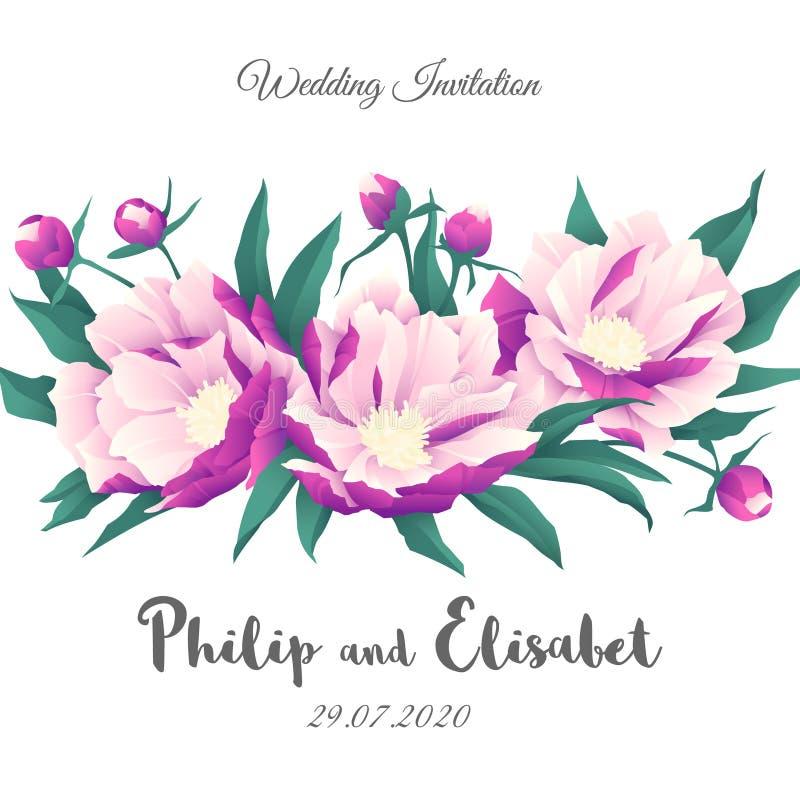 Rocznika zaproszenia Ślubny szablon z peoniami ilustracja wektor