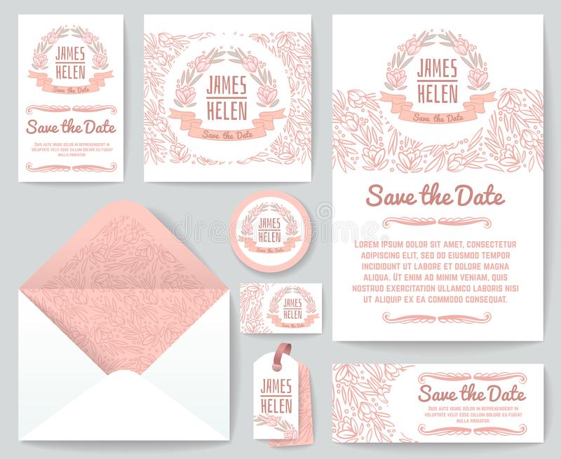 Rocznika zaproszenia ślubnych kartka z pozdrowieniami wektorowy szablon z ręka rysującymi nieociosanymi kwiecistymi kwiatami i el royalty ilustracja