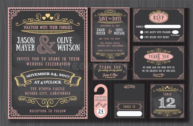 Rocznika zaproszenia chalkboard ślubny projekt royalty ilustracja