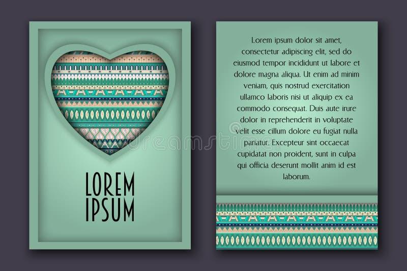 Rocznika zaproszenia 3D romantyczna papierowa karta z ornamentacyjnym sercem royalty ilustracja