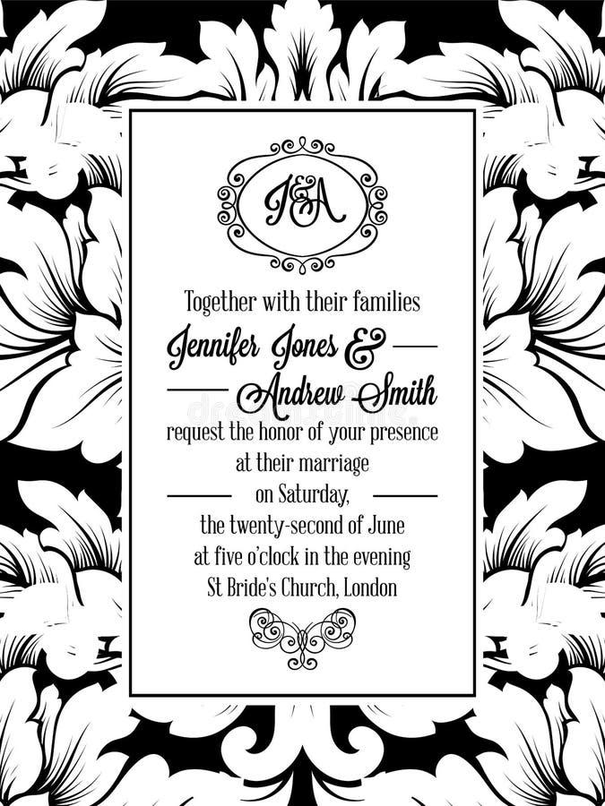 Rocznika zaproszenia delikatna formalna karta ilustracja wektor