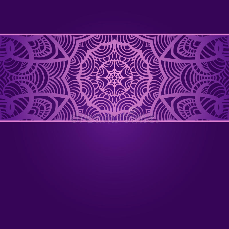 Rocznika zaproszenia karta na purpurowym tle z obraz stock