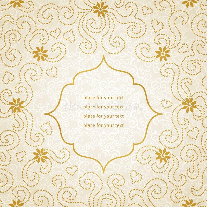 Rocznika zaproszenia karta z małymi kwiatami i kędziorami. ilustracji
