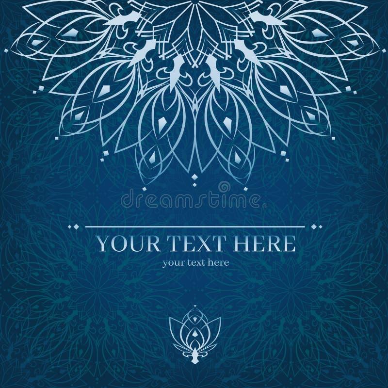 Rocznika zaproszenia karta z mandala ornamentem karcianego projekta ramy szablon ilustracja wektor