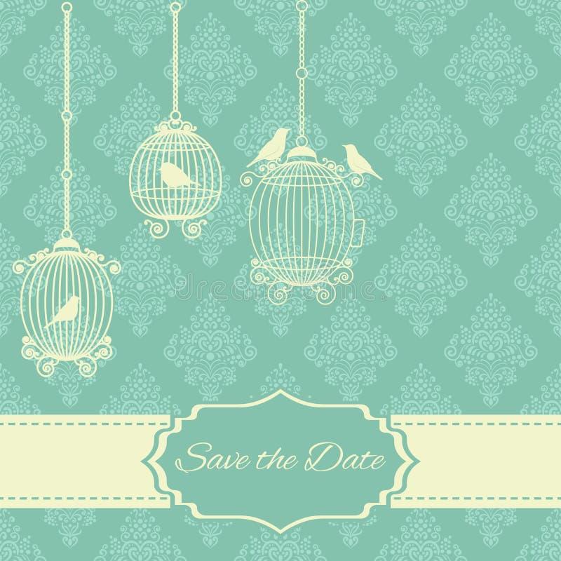 Rocznika zaproszenia karta z ozdobnym eleganckim abstrakcjonistycznym kwiecistym projektem w błękicie, - biali kolory z ptakami,  zdjęcie royalty free