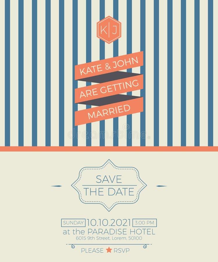 Rocznika zaproszenia karty ślubny szablon royalty ilustracja