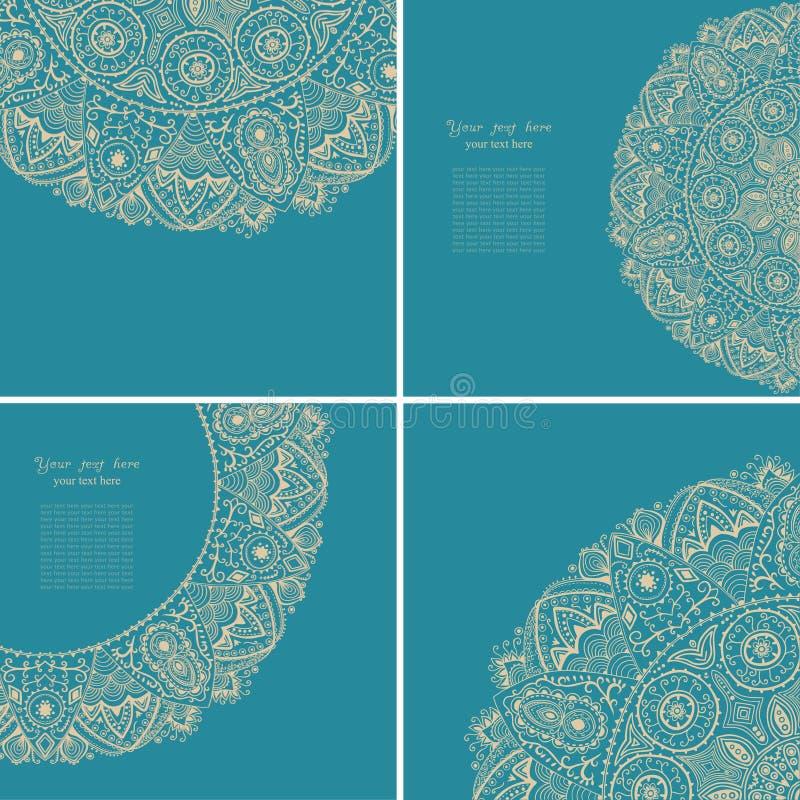 Rocznika zaproszenia karty set karcianego projekta ramy szablon vinaigrette ilustracja wektor