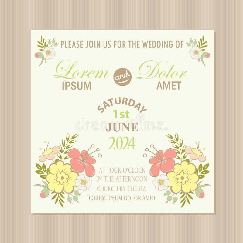 Rocznika zaproszenia kwiecista ślubna karta ilustracja wektor